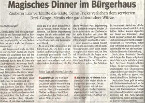 Zauberer LIAR Zeitungsartikel Magic Dinner