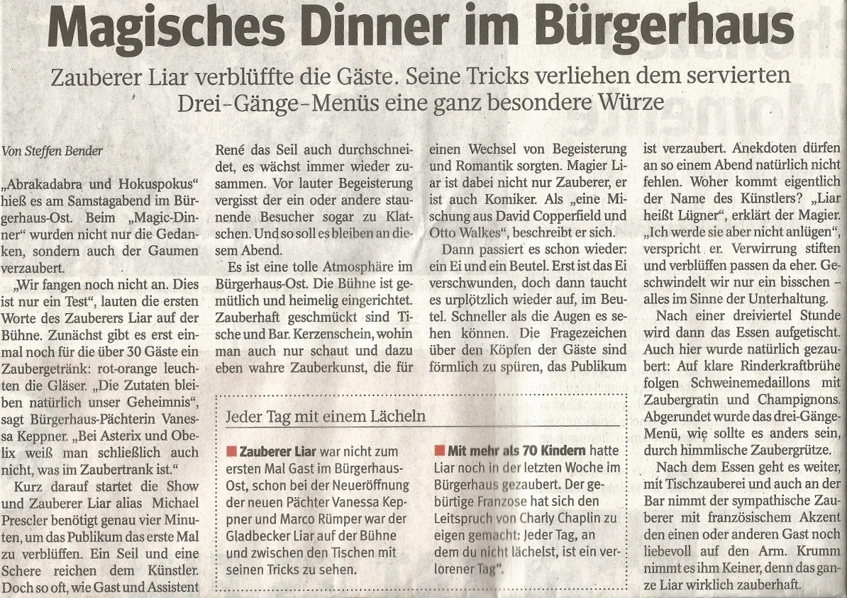 Waz Magic Dinner Jan 2013 Artikel