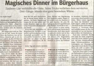 Zauberer LIAR Zeitungsartikel Magic Dinner